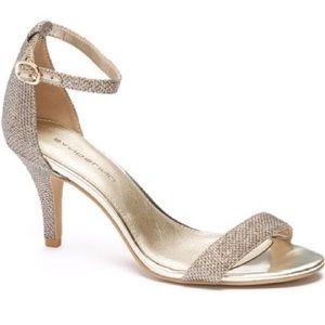 Bandolino Muriel Gold Sparkle Ankle Strap Heel 8.5